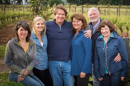 Group shot at Elton vineyard with Isabelle, Chirsine, Jim, Jan, Dick and Betty
