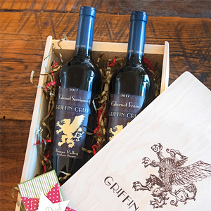 Two bottles of Griffin Creek wine in a wooden box