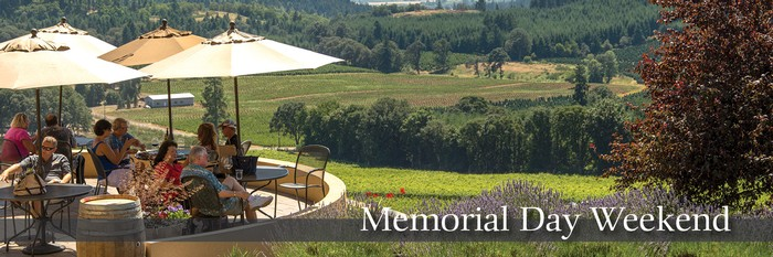 Guests sitting on patio sipping wine. Text on image reading Memorial Day Weekend.
