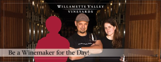 Be a Winemaker for a Day graphic featuring two winemakers standing by a barrel