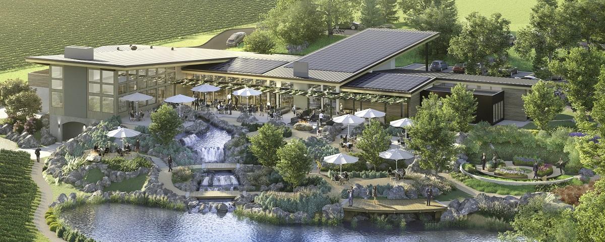 Rendering of the Bernau Estate Tasting Room, Gardens and Pond