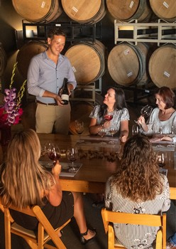 Seated tasting in the barrel cellar with Ambassador and guests
