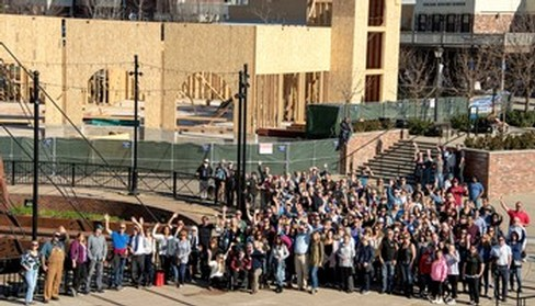 Roof raising celebration of Willamette Wineworks in Folsom, California