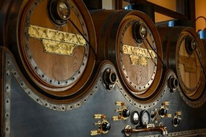 Close-up of blending system with gold plaques