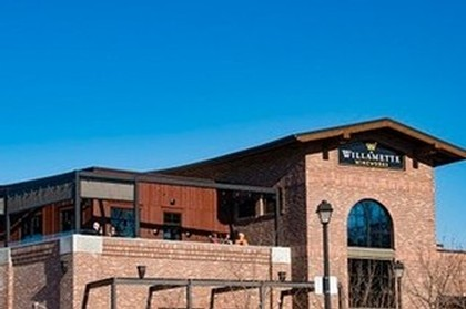 Outside the Willamette Wineworks building on a clear day