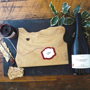 Birds Eye View of Cutting Board, Jam and bottle of Estate Pinot Noir