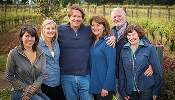Consulting Winemaker Isabelle Meunier; Winery Director Christine Collier Clair; Willamette Valley Vineyards Founder Jim Bernau; Project & Staff Development Manager Jan Bernau; and Elton Vineyard Founders Dick & Betty O'Brien.