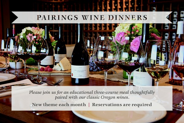 Pleas join us for Parings Wine Dinners, a new theme each month